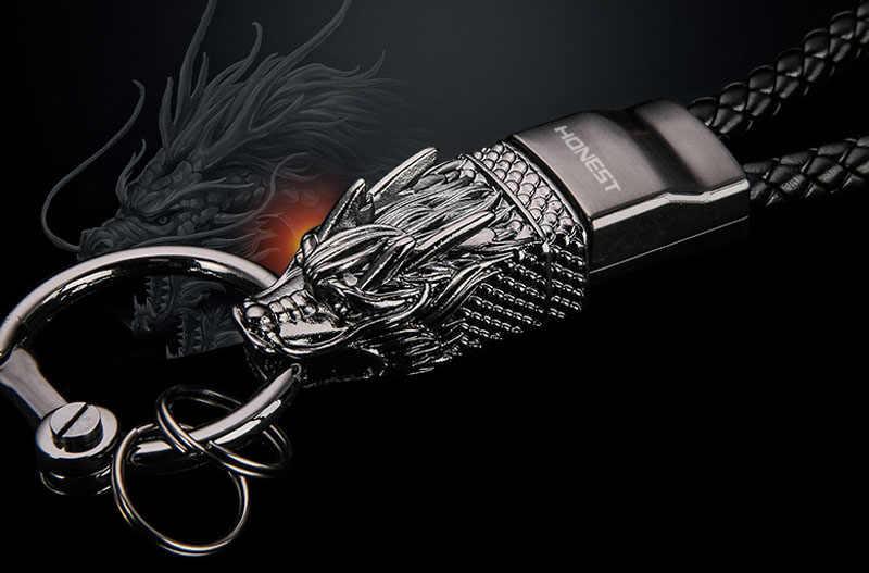 StmanyaBrand Dragão Homens Chaveiros Corrente Chave Chaveiro Carro Saco de Jóias Presente Top Dom Chaveiro Pingente de Corda De Couro Genuíno K1856
