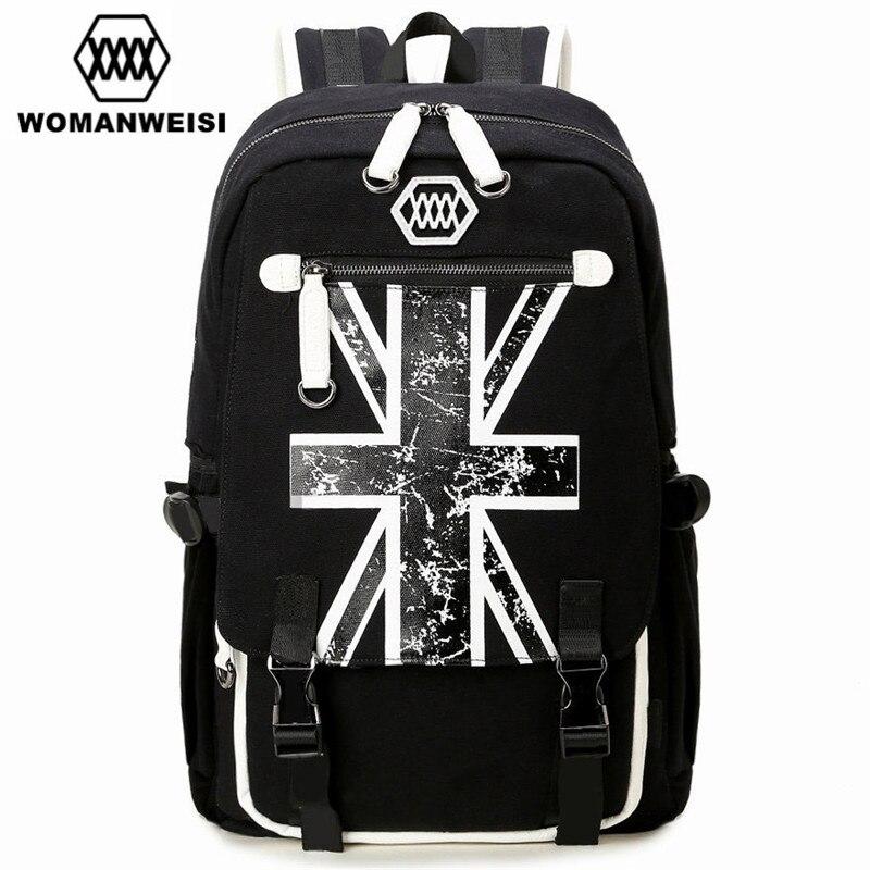 Famous Brand British Style Black Canvas Men's Bagpack Laptop Backpack For Teenager Fashion Anime Schoolbag Mochila School Bags 2016 korean style fashion kpop black canvas bigbang fans bagpack g dragon punk rock backpack school bag for teenager girls xj366