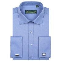 Fashion New French Cuff Dress Shirts Long Sleeve Mens Business Formal Shirt With CufflinksTuxedo Shirt