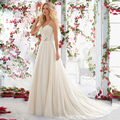 New Simple Sweetheart with Spaghetti Straps Lace Beading Backless Long Chiffon A Line Wedding Dresses