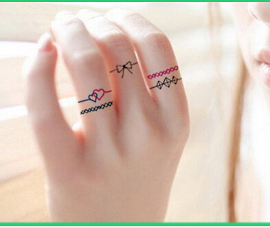 Original Ring Tattoo Stickers Waterproof Hand Finger Ankle Men And