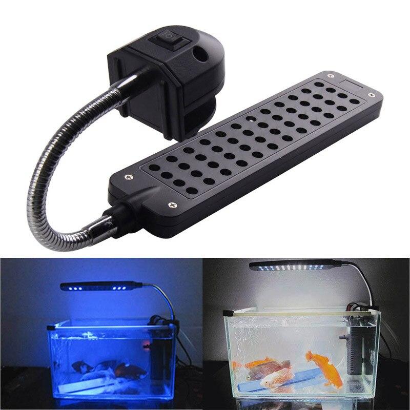 LED fishbowl luz 12 azul + 36 blanco DC12V 3.5 W 48LED acuario lámpara de luz para los arrecifes de coral animales acuáticos UE Fish Tank ornamento