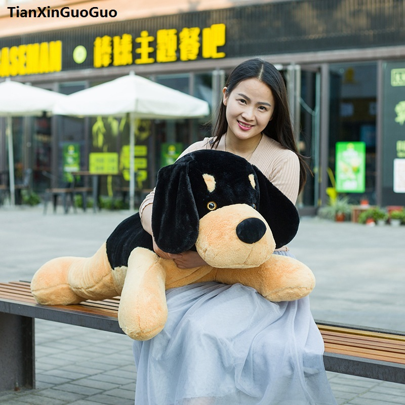 stuffed toy lovely prone dog large 90cm black&brown love dog plush toy soft doll throw pillow birthday gift s0208 lovely giant panda about 70cm plush toy t shirt dress panda doll soft throw pillow christmas birthday gift x023
