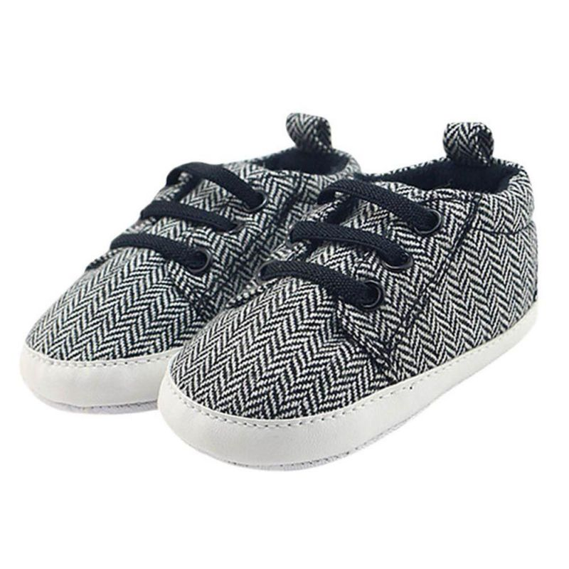 Infantil Baby Boy Shoes First Walkers Lace-Up Striped Baby Sneakers Boys Toddler First Walker Newborn Canvas Shoes