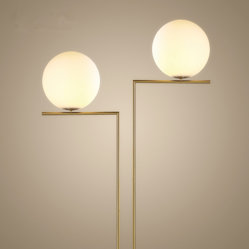 Modern creative led floor lamp glass lampshade gold AC 90 260V e14 stand light lampade da terra ...