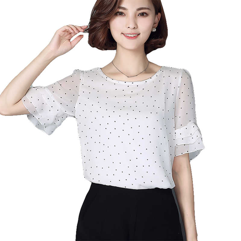 Women's Summer Blouse Shirts White Short Sleeves Chiffon Tops and Blouses Office Lady Femme Women plus Size New Fashion