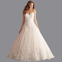 New Fashion 2016 Romantic Lace Vestidos De Noiva Sweetheart Off the Shoulder Tailored Ball Gown Wedding Dresses AS158