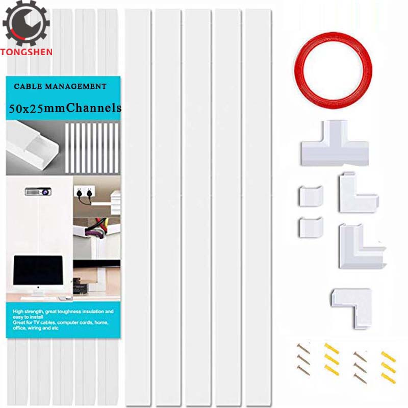 50x25mm Cable Management On-Wall Cord Hider Cord Organizer Raceway Kit Cord Concealer System Covers Cables PVC Trunking Channel