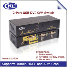 2017 CKL 2 Port USB DVI KVM Switch 2 in 1 out Switcher for Keyboard Video Mouse with Audio Fully Support DVI HDCP CKL-92D