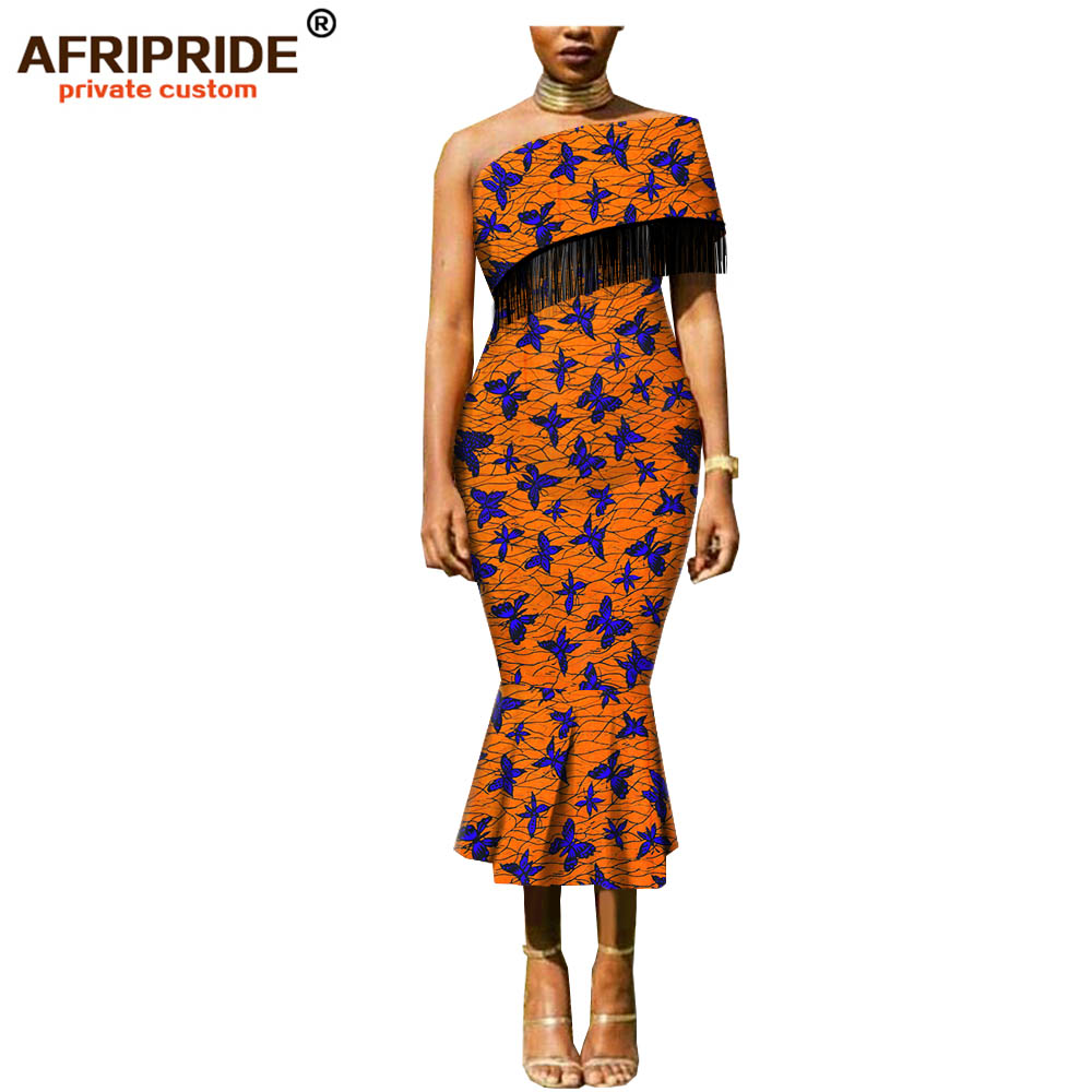 2019 african dashiki wax dress for women AFRIPRIDE bazin richi one shoulder mid calf length women