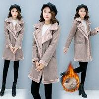 New Women S Winter Suede Leather Coat Women New Long Thicken Parka Female Slim Faux Sheepskin