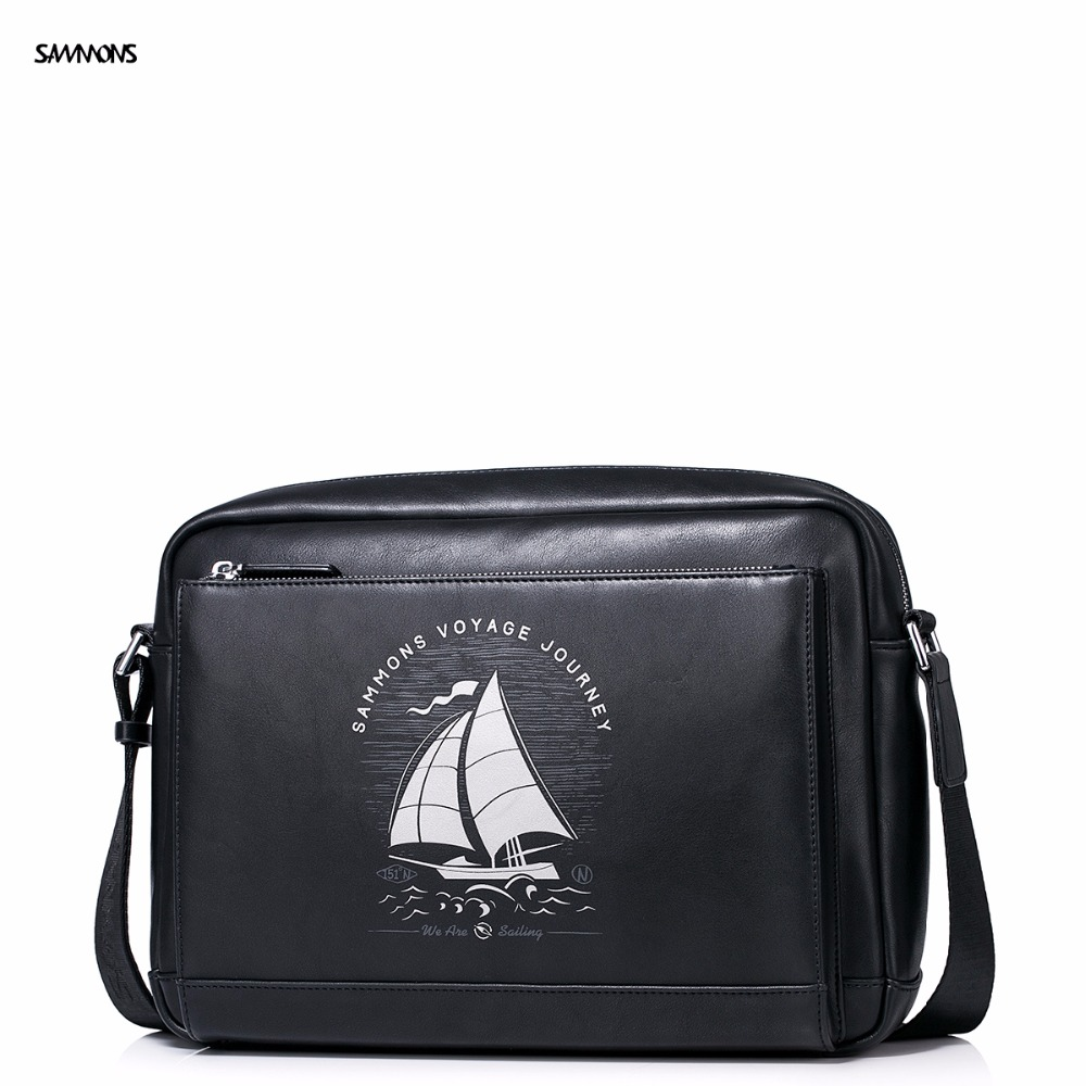 купить 2017 New SAMMONS Brand Original Design Voyage boat Printing Fashion PU Leather Casual Men Shoulder Bag Messenger Flap Bags недорого