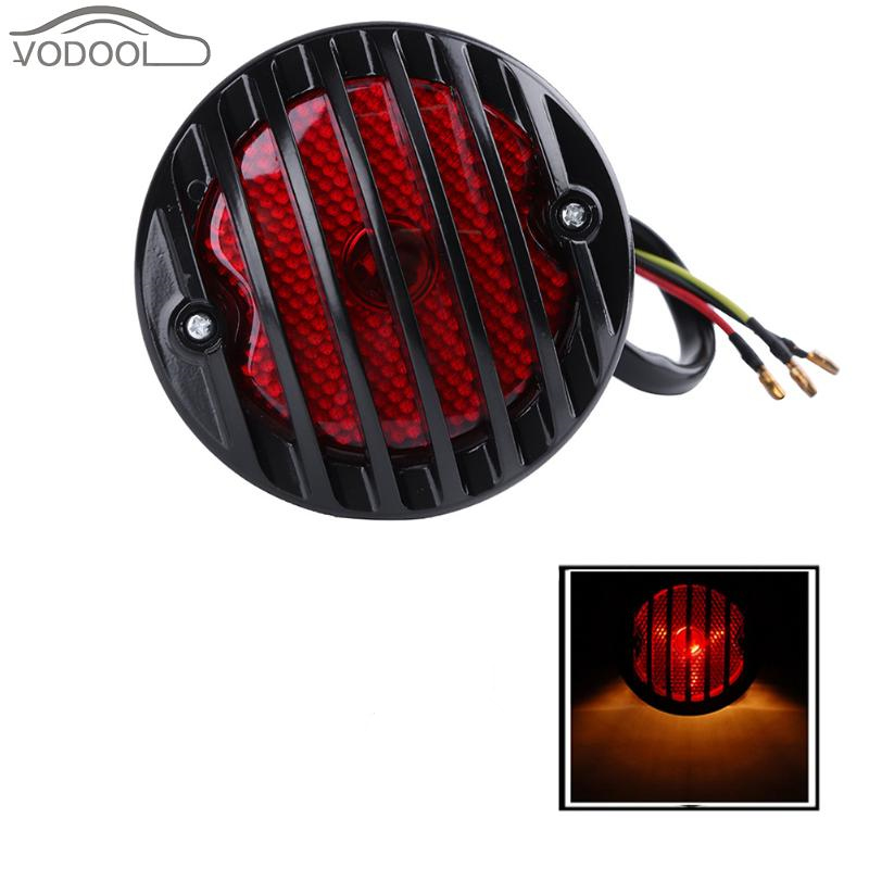 Retro Vintage Metal Grille Motorcycle Tail Light Moto <font><b>License</b></font> <font><b>Plate</b></font> Bracket Side Mount Tail Lamp for Electric Car Scooter Moto