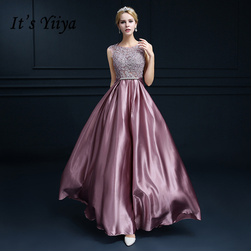 It's YiiYa Illusion Lace O-neck A-line   Evening     Dresses   Elegant Sleeveless Bow Dinner Gowns Popular Party Frocks BL066