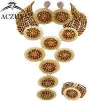 ACZUV Brand Gold AB and Golden African Jewelry Set Bead Black Women Nigerian Wedding Accessories A10R019