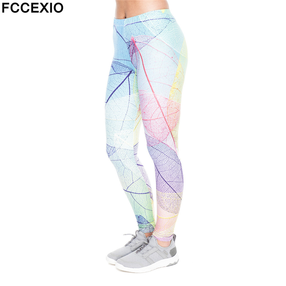 3e2bde90537c4b FCCEXIO New Halloween Cosplay Women Leggings Colo Leafs Print Leggins  Fitness Legging Sexy Slim High waist Woman Summer pants in Pakistan