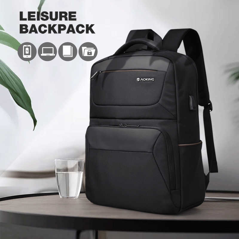 "Aoking Brand Black Backpack Waterproof Men's Travel Bags with USB Port Fashion Business backpack Fits 15.6"" Laptop for Teenager"