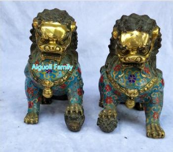 Art Collectible Chinese Old Cloisonne Bronze Carved 1 Pair Big Fu Foo Dog Statue/Home Decoration Animals Feng shui Sculpture