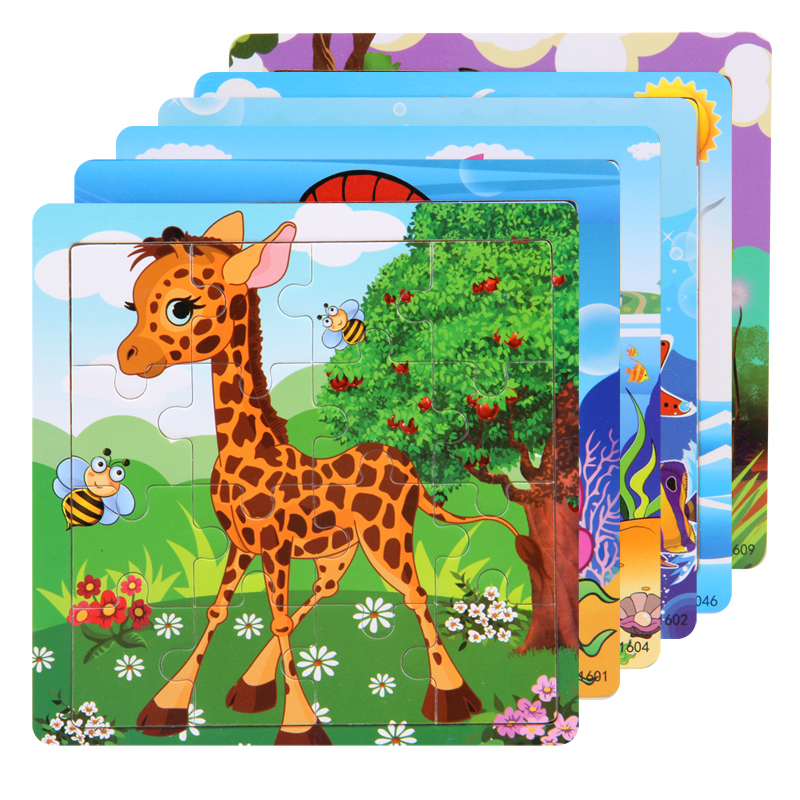 Wooden Puzzle 3D Puzzles Educational Toy Montessori Cartoon Anime Puzzle Toys for Children Kids Gifts Animal Puzzle toy(China)