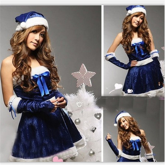 22adc5a1073 new Multicolor multi-code Sexy christmas women cosutmes cosplay party drag  dress game COS uniform blue or red christmas costumes