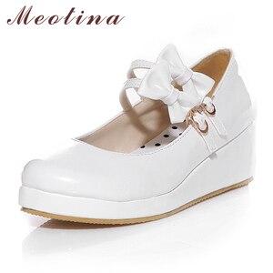Image 2 - Meotina 큰 사이즈 9 10 신발 여성 펌프 라운드 투 메리 제인 블랙 플랫폼 신발 웨지힐 보우 숙녀 신발 옐로우 화이트