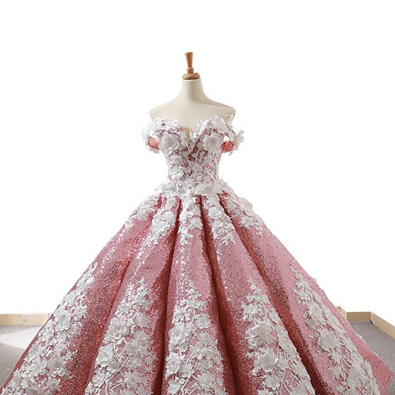 J66662 Jancember Biru Muda Quinceanera Gaun 2019 Bengkak Off The Bahu Putih Bunga Debutante Gaun Vestido De Baile