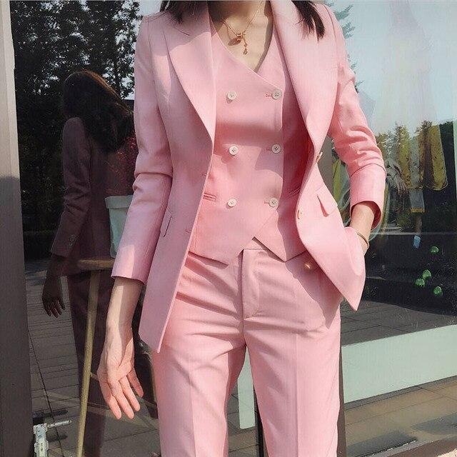 Brand New 2019 Spring Autumn Women Pink 3 Pieces Pants Sets Blazer + Vest + Ankle Length Pants Office Lady Work Suits Set Y211