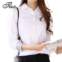 TLZC New Lady Casual Shirts Office Lady White Work Blouse Size S 3XL Brief Style Women