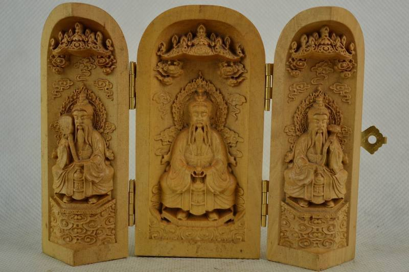 Old Decorated Handwork Boxwood Carving Taoism Elders Bless Safety Scalable Box
