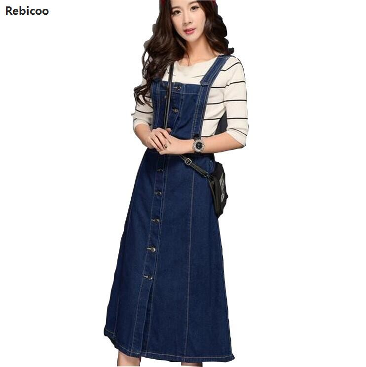 Women Denim Dress Jeans Sundress Sleeveless Single Breasted Pockets Casual Loose Long Suspender Dresses Plus Size 3XL image