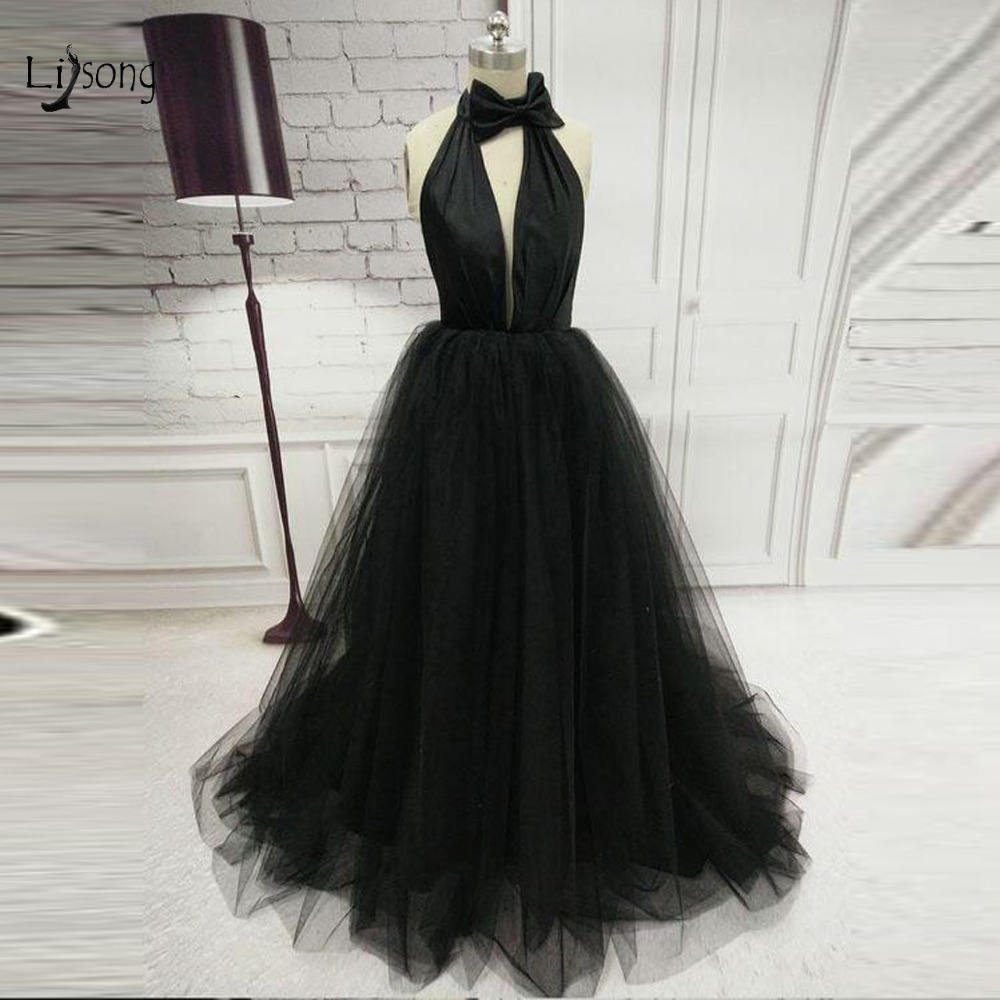 2019 Sexy Black Tulle   Prom     Dresses   Halter Off The Shoulder A-line Summer   Prom   Gowns Simple Bow Party Gowns Vestido De Festa