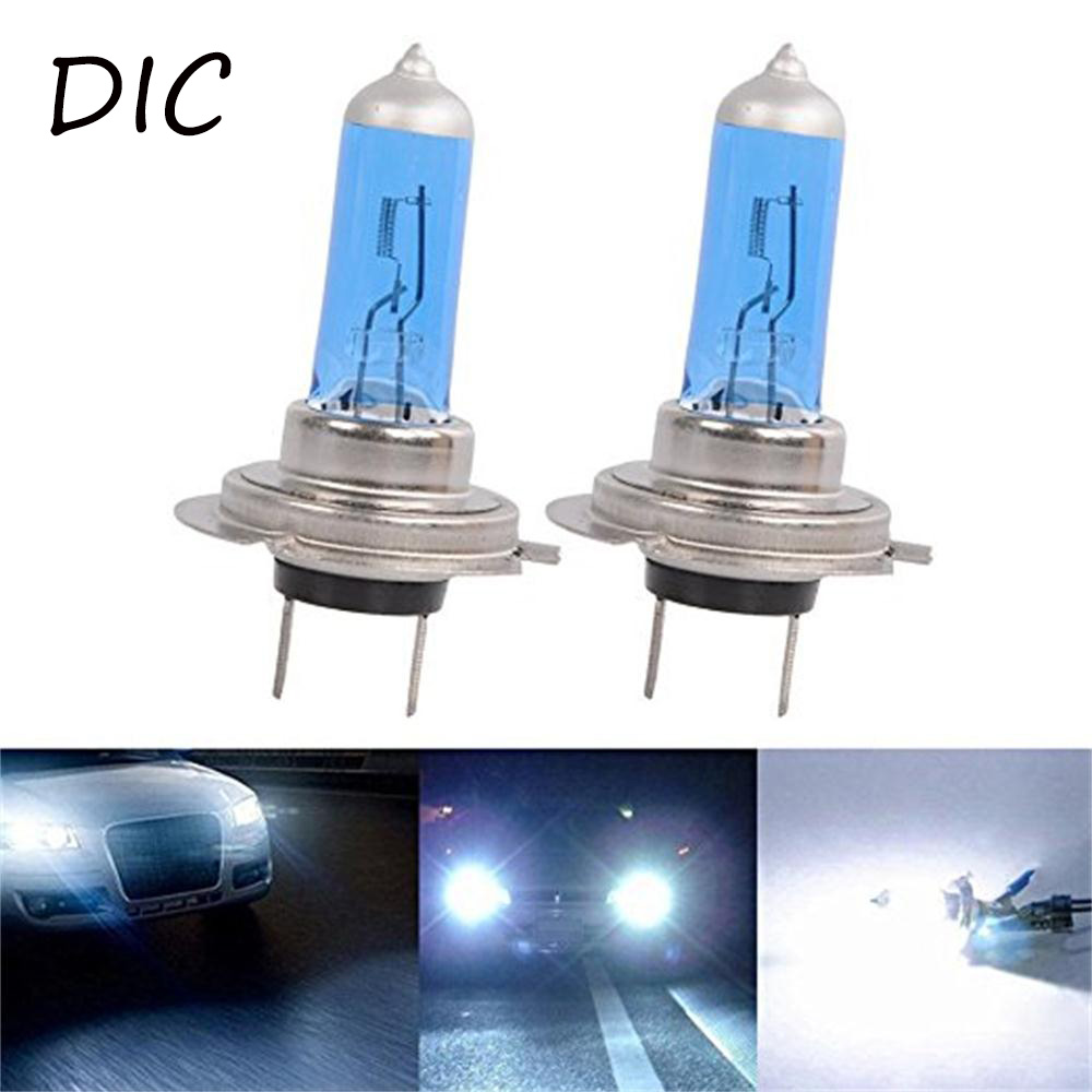 DIC 2x H7 Halogen Car Light 55W Super White Quartz Glass Halogen Light 5000K Xenon Dark Blue Car HeadLight Bulb Auto Fog Lamp
