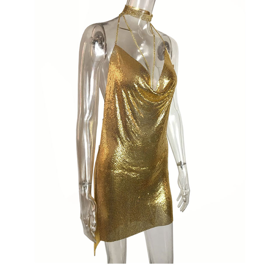 GACVGA 17 Sexy Diamond Halter Metal Party Dresses Gold Silver Summer Dress Vesitos Backless Sequins Women Dress 12