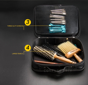 Image 3 - Professional Barber Hair Tool Bags Salon Hairdressing Scissor bag Clipper Comb Storage Case Can Hold Hair Dryer Training Head
