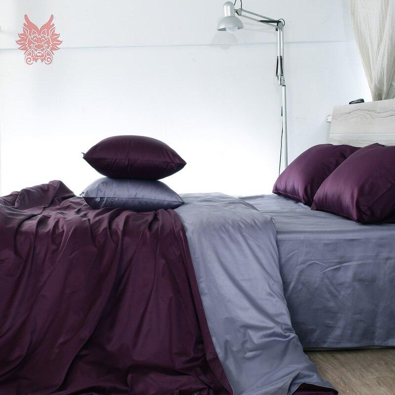 Фиолетовый Капа де Edredon комплект из чистого хлопка постельного белья 100% хлопок шелковое постельное белье простыней типа King Queen sp3225