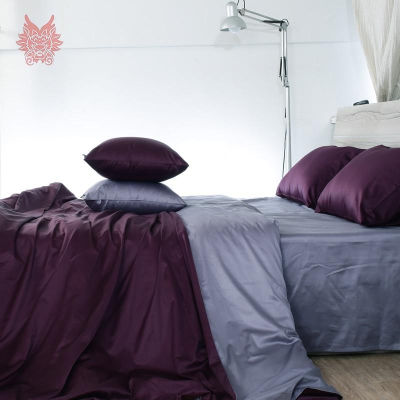 Roxo capa de edredon definir puro algodão conjuntos de cama 100% algodão tipo tribute silk duvet cover set folha de cama da Rainha do Rei SP3225