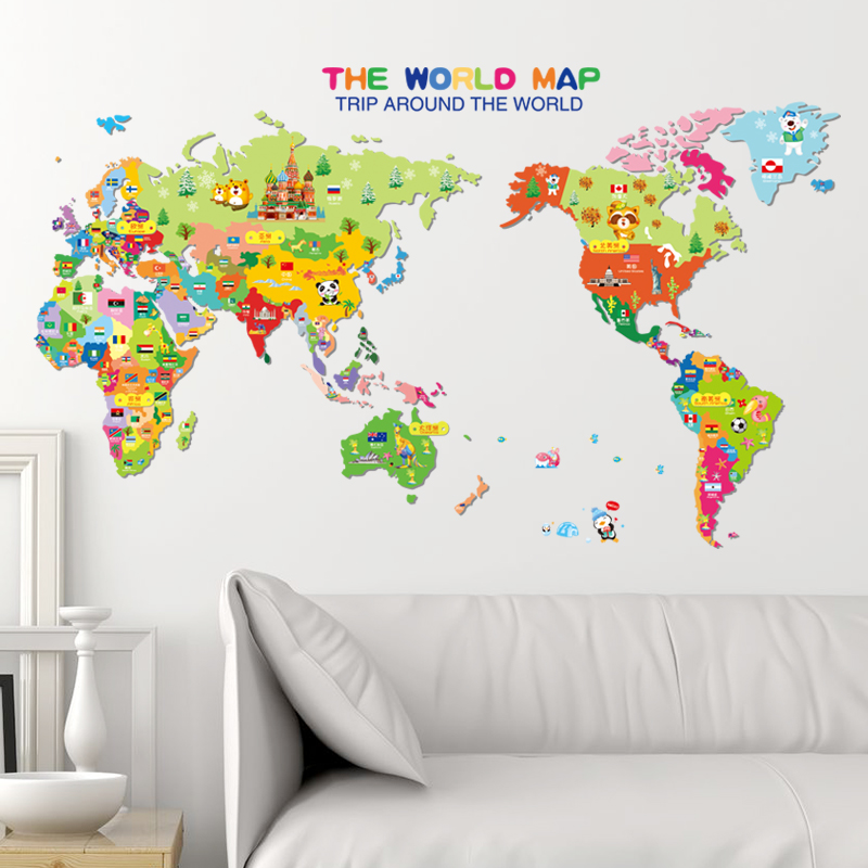 Animal world map wallpaper for kids rooms home decor art decals 3d animal world map wallpaper for kids rooms home decor art decals 3d sofa bedroom house decoration diy vinyl wall stickers in wall stickers from home garden gumiabroncs Images