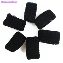 4pcs/lot Black Cotton Hair Bands Fluffy Soft Hair Ropes High Elastic Girls Hair Accessories Free Shipping