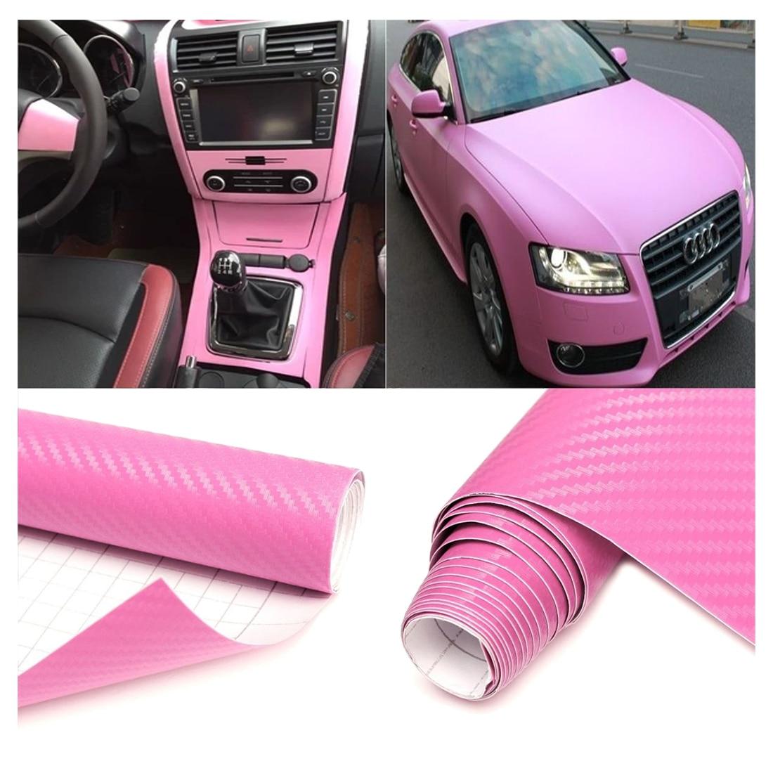 30*200CM 3D Carbon Fiber Vinyl Wrap Roll Film Sticker Decal Car Home Wallpaper Pink