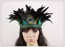 American Headband Native War Bonnet Hat Ethnic Ostrich Feather Headwear Indian Natural Peacock Feather Headdress Costume