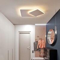 Quadrado branco/marrom moderno led lustre para sala de estar quarto estudo sala regulável 110 v 220 v lustre moderno