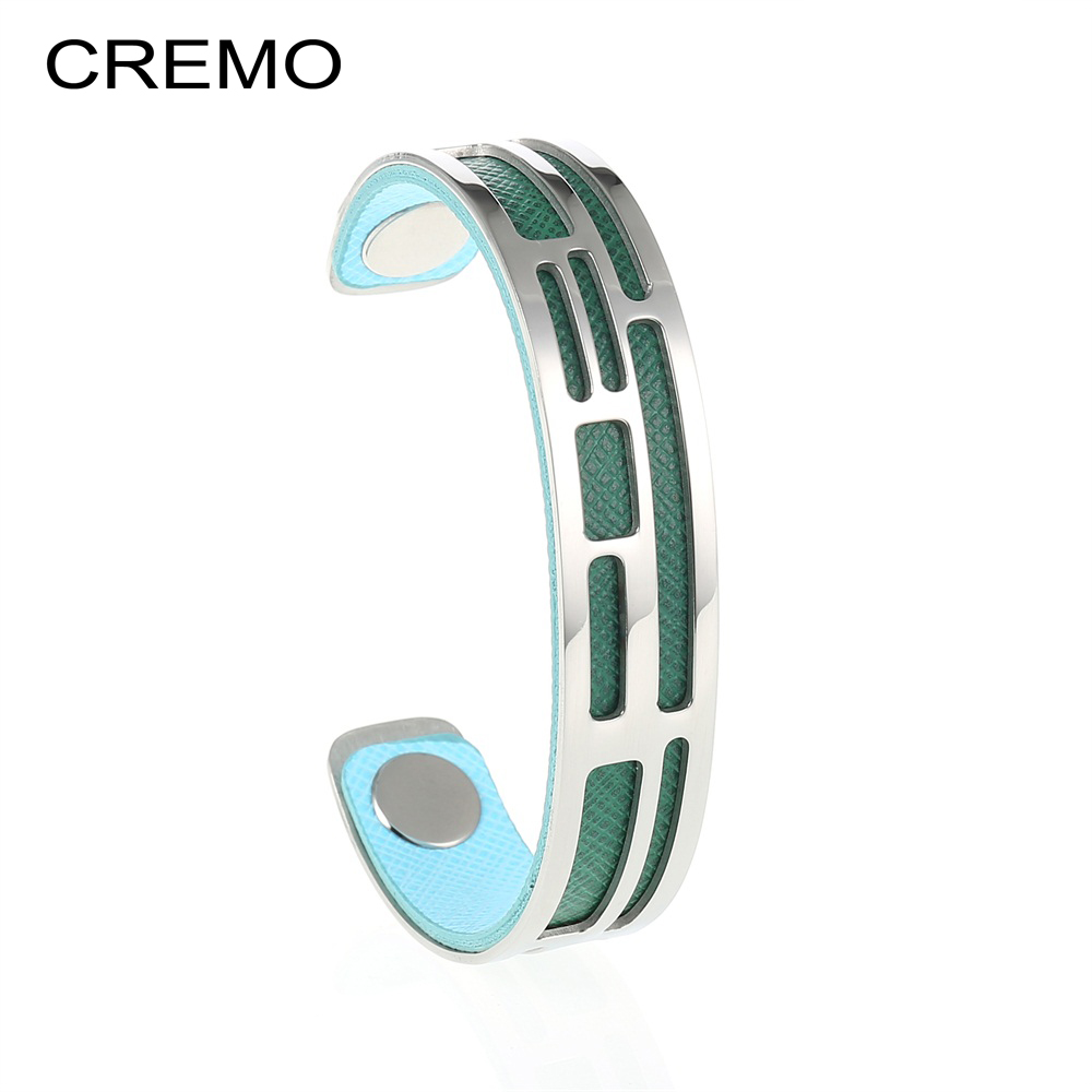 Cremo les Manchette Labyrinthe Argent Open Bracelet For Woman Leather Inserts Band Narrow Cuff Bracelet Stainless Steel Jewelry