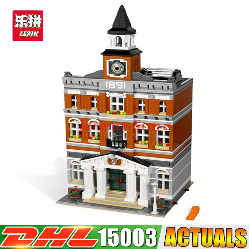 2017 IN STOCK Free shipping 15003 New 2859Pcs The town hall Model Building Kits Blocks Kid DIY Toy Gift LEPIN Compatible 10224 new lepin 15003 2859pcs the topwn hall model building blocks kid toys kits compatible with 10224 educational children day gift