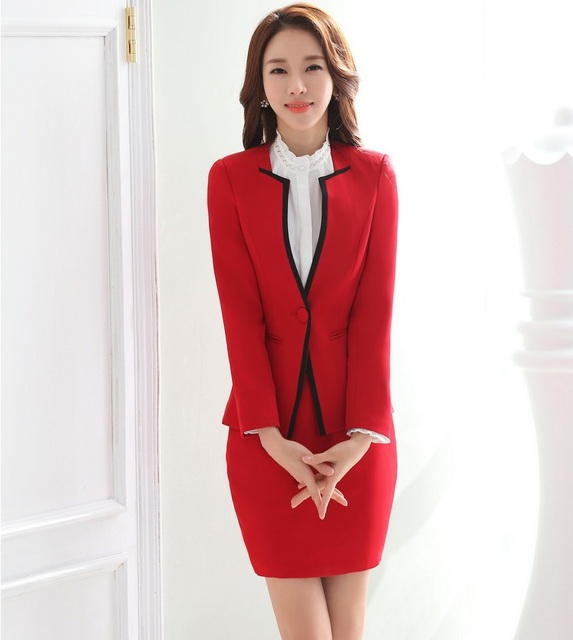 New 2016 Fashion Novelty Red OL Styles Skirt Suits Jackets And Skirt Female Business Women Uniform Ladies Office Blazers Outfits