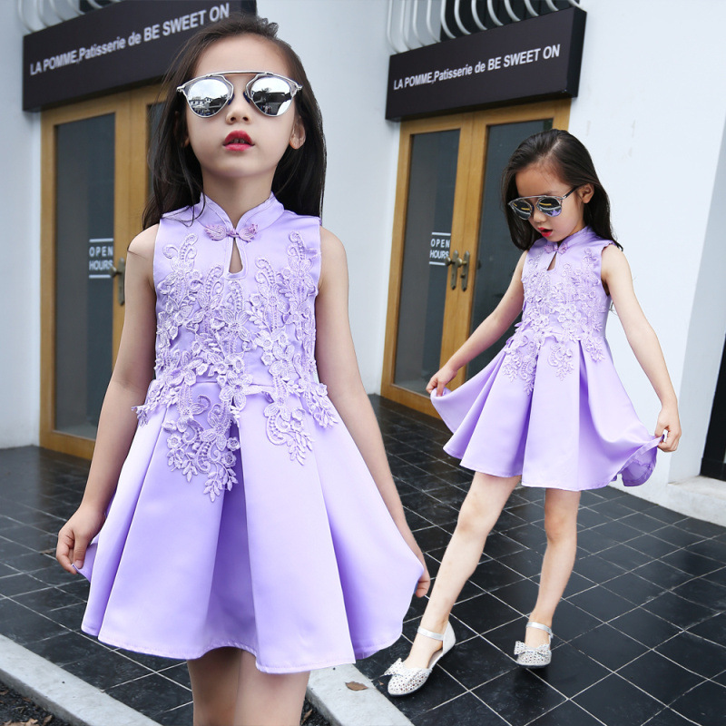 d1908870686f0 US $18.99 |2017 summer mexican girl qipao dress with hand flowers  embroidery floral wedding prom colored vintage toddler dresses india-in  Dresses from ...