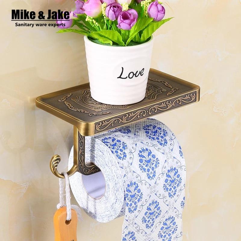Space Aluminum Antique Paper Holder With Phone Shelf Plate Bathroom Paper Holder Shelf Wall Paper Rack Bathroom Accessories
