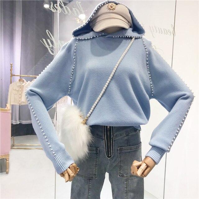 Amolapha נשים Soild פנינה סרוג סלעית סוודרים Jumper חולצותסוודרים