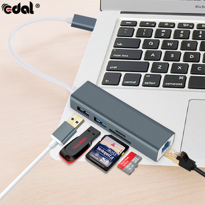 5 in 1 USB-C Hub Aluminium Alloy Type-C Adapter with RJ45 Ethernet Port USB 3.0 SD/TF Card Reader USB Converter for Macbook