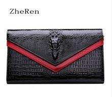 More real Brand of Genuine Leather Handbags Crocodile Pattern Women Messenger Bag Handbag Chain evening Clutch Purse Wallet le