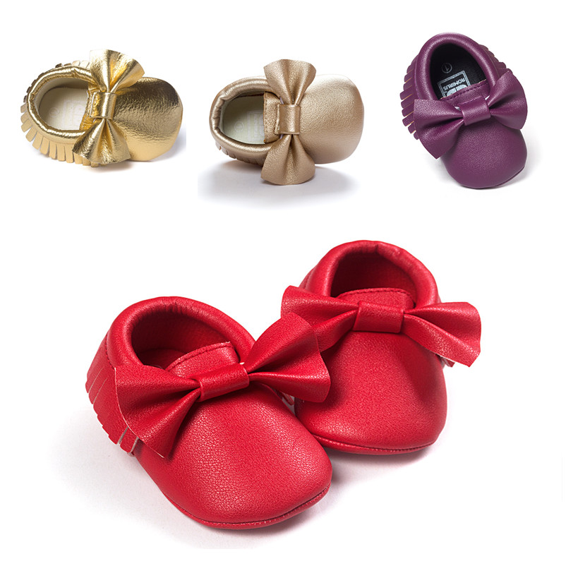 Baby Girls Shoes Red Purple Gold Fringed Newborn Infant Toddler Bow Prewalkers Princess Moccasins Soft Moccs First Walker Shoes